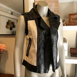 Bar III Faux leather Canvas vest